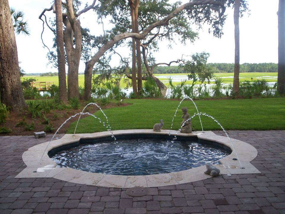 Backyard water feature add ons in hilton head beaufort for Year round pool residential